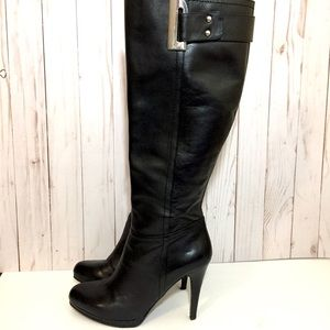 Nine West Leather Knee-High Heel Boot 7 Black